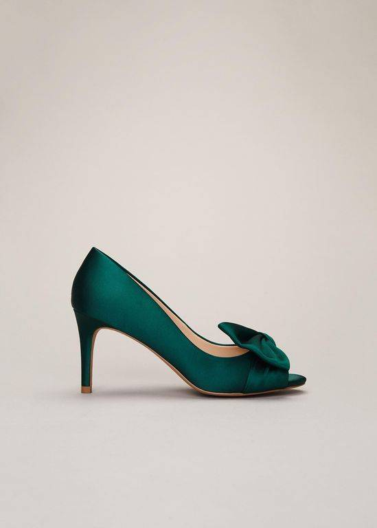 Phase Eight Meaghan Satin Bow Peep Toe - Green - Phase Eight Heels