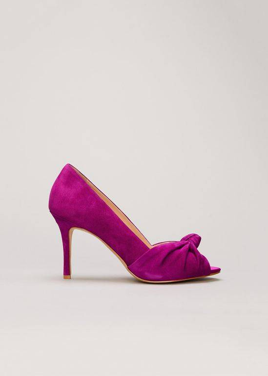 Phase Eight Sonja Suede Peep Toe Shoe - Purple - Phase Eight Heels