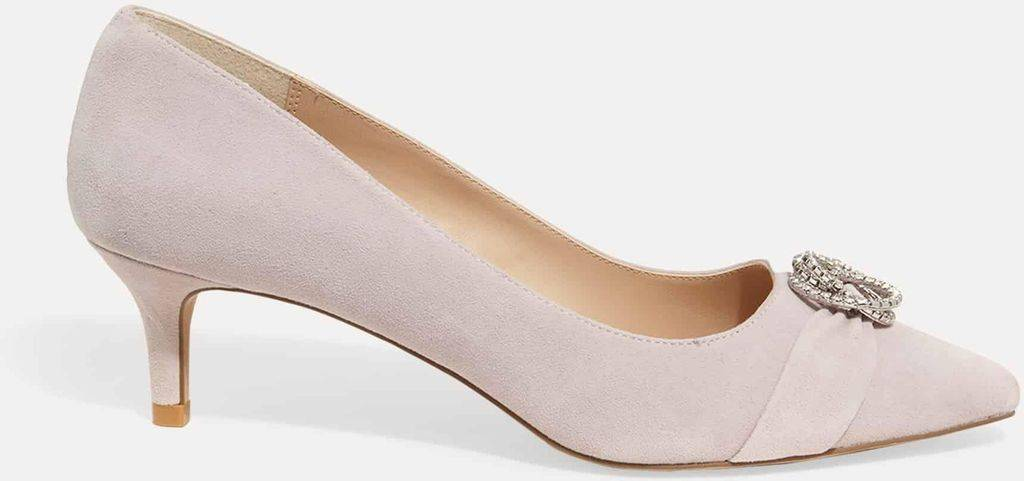 Phase Eight Joelle Jewelled Suede Kitten Heels - Pink - Phase Eight Heels