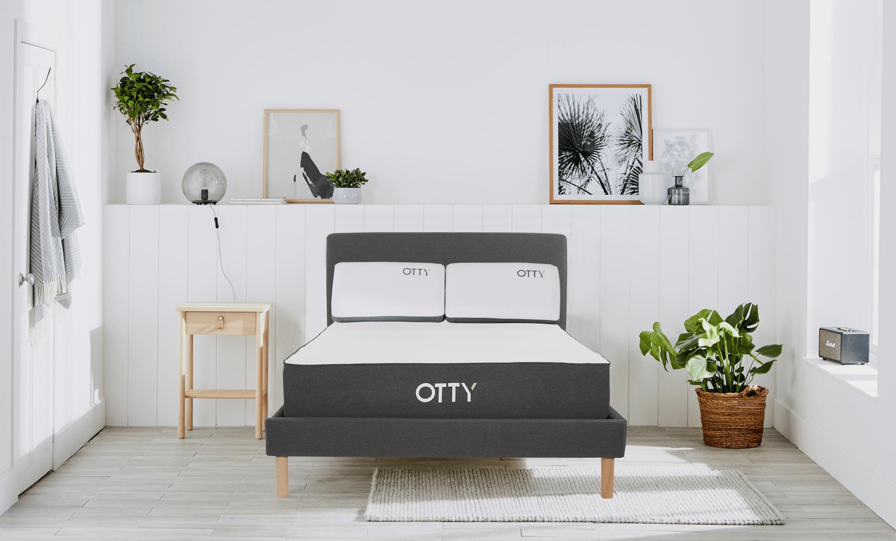 OTTY Sleep OTTY Hybrid Mattress, Bed Frame & Deluxe Pillows, Single   W90 L190 H25 cm