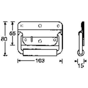 3412 Box handle Steel (L x W x H) 103 x 80 x 15 mm
