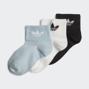 adidas Mid-Ankle Socks 3 Pairs Mid-Ankle Socks 3 Pairs  - White / Clear Sky / Black [Kids]