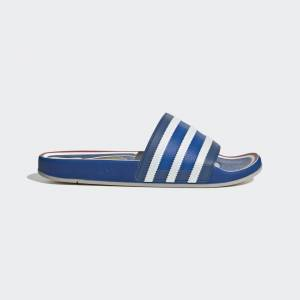adidas Adilette Premium Slides Adilette Premium Slides  - Blue / Cloud White / Hi-Res Red [Women]
