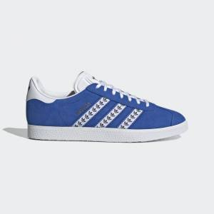 adidas Gazelle Shoes Gazelle Shoes  - Blue / Cloud White / Gold Metallic [Unisex]