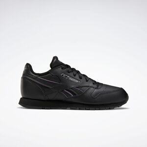 Reebok Classic Leather Shoes  - Kids - Black / Black / Silver Metallic - Size: 4,4.5,5