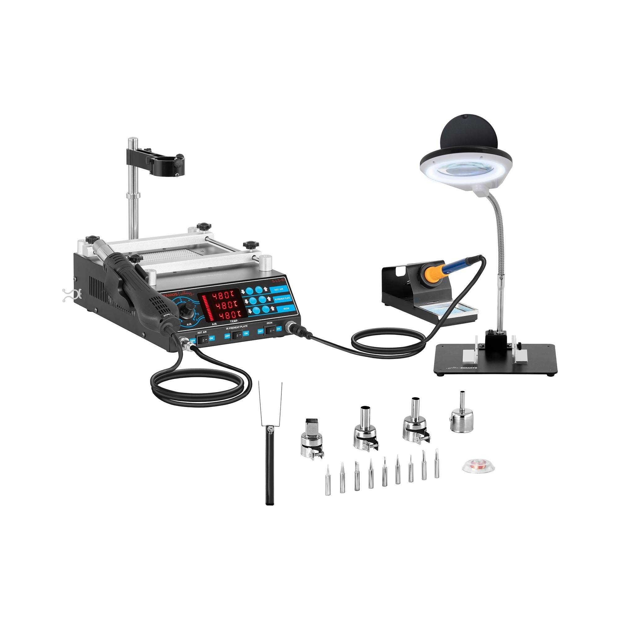 Stamos Soldering Set Soldering Station with Pre-Heating plate and 2 Clamps + Accessoires