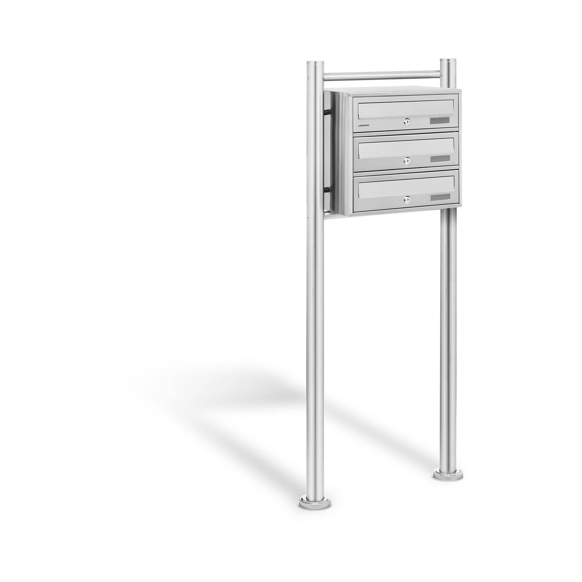 Uniprodo Stainless Steel Postbox - 3 Mailboxes UNI_LETTER_01