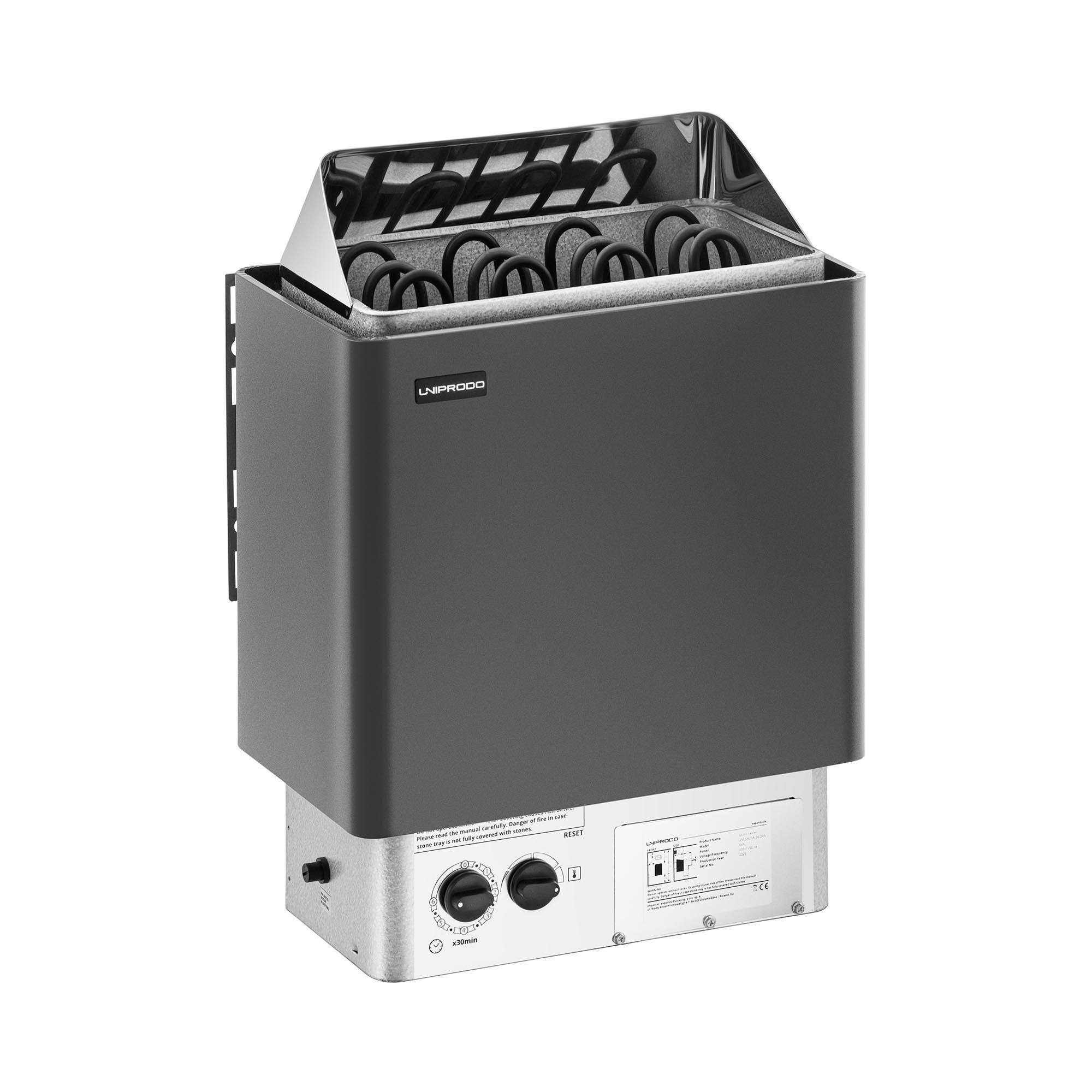 Uniprodo Sauna Heater - 6 kW - 30 to 110 °C - incl. control panel UNI_SAUNA_B6.0KW