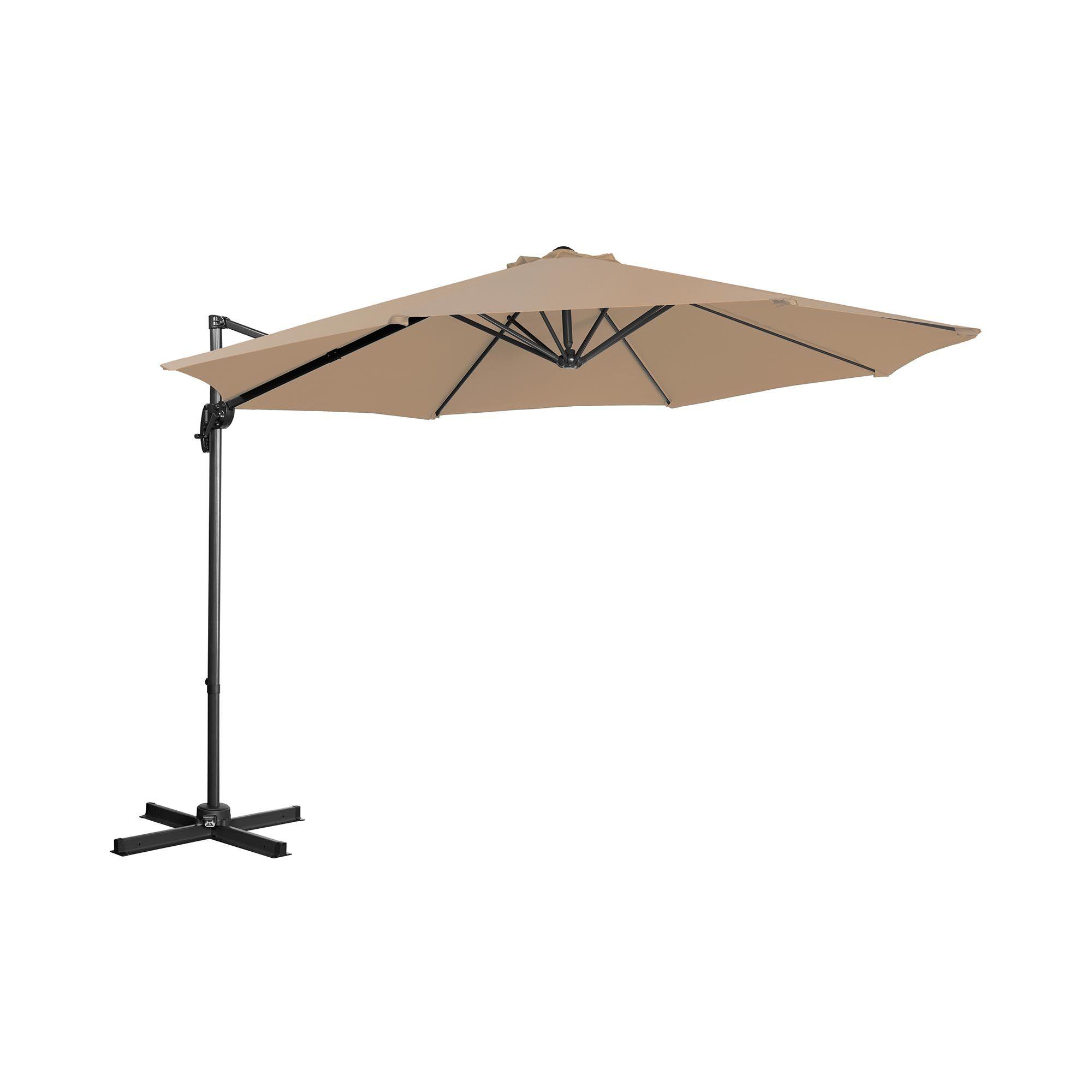 Uniprodo Hanging Parasol - taupe - round - Ã 300 cm - rotatable