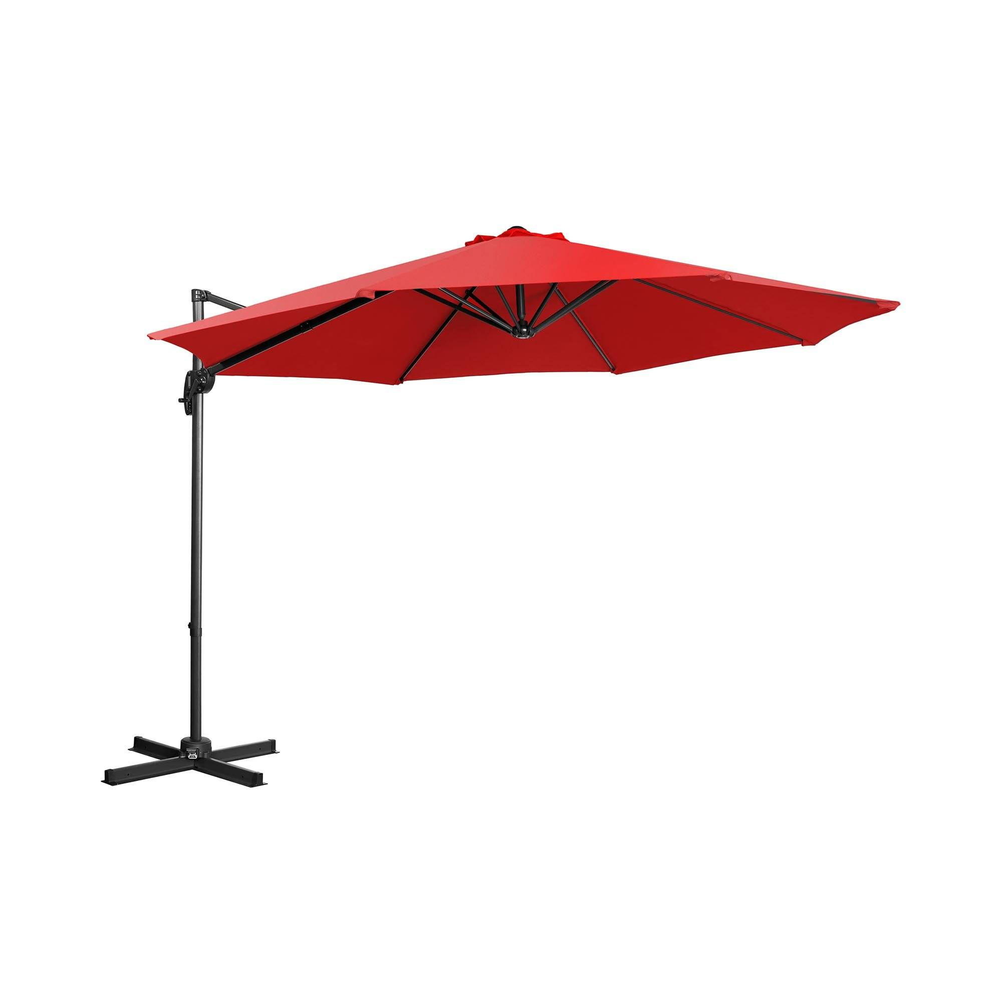 Uniprodo Hanging Parasol - red - round - Ã 300 cm - rotatable