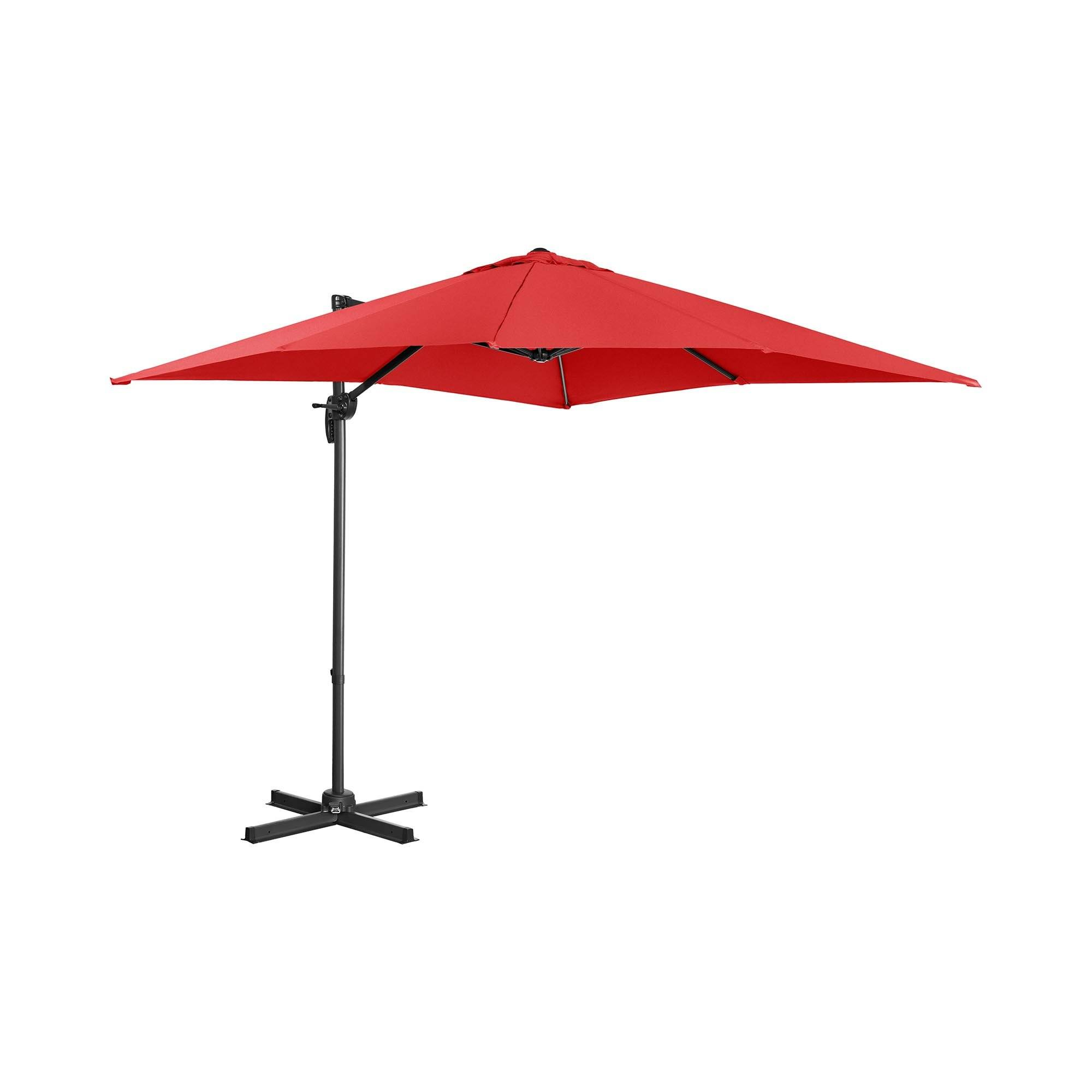 Uniprodo Hanging Parasol - red - square - 250 x 250 cm - rotatable