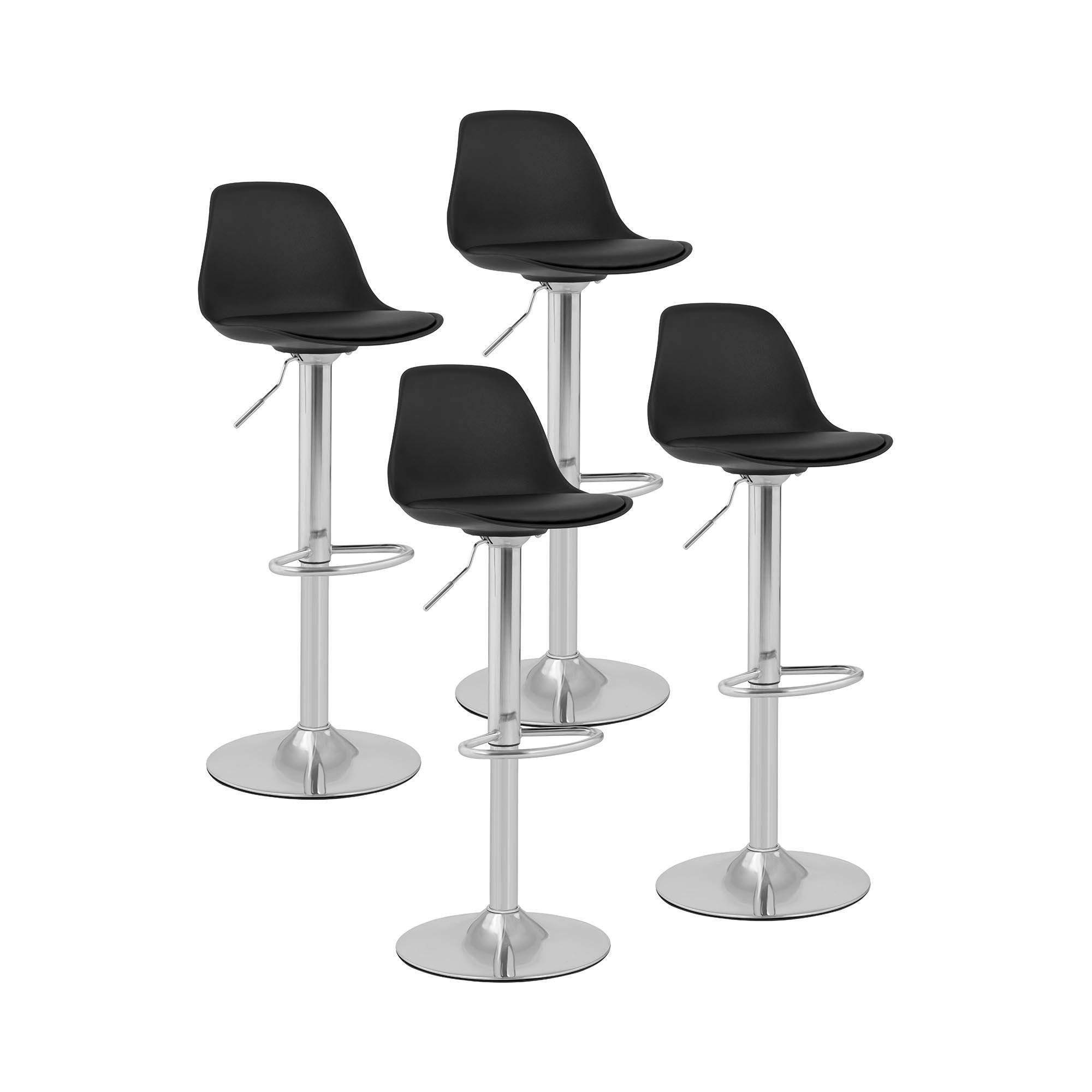 Fromm & Starck Bar Stools - set of 4 - with back - chrome-plated steel base - black STAR_SEAT_02