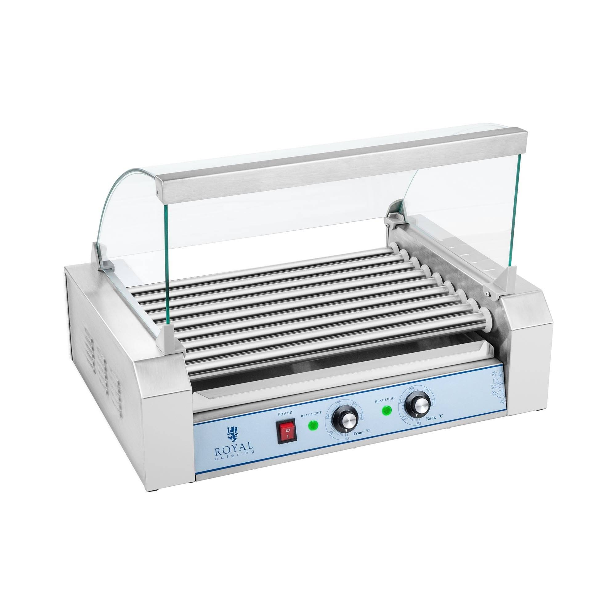 Royal Catering Commercial Hot Dog Grill - 9 rollers - stainless steel