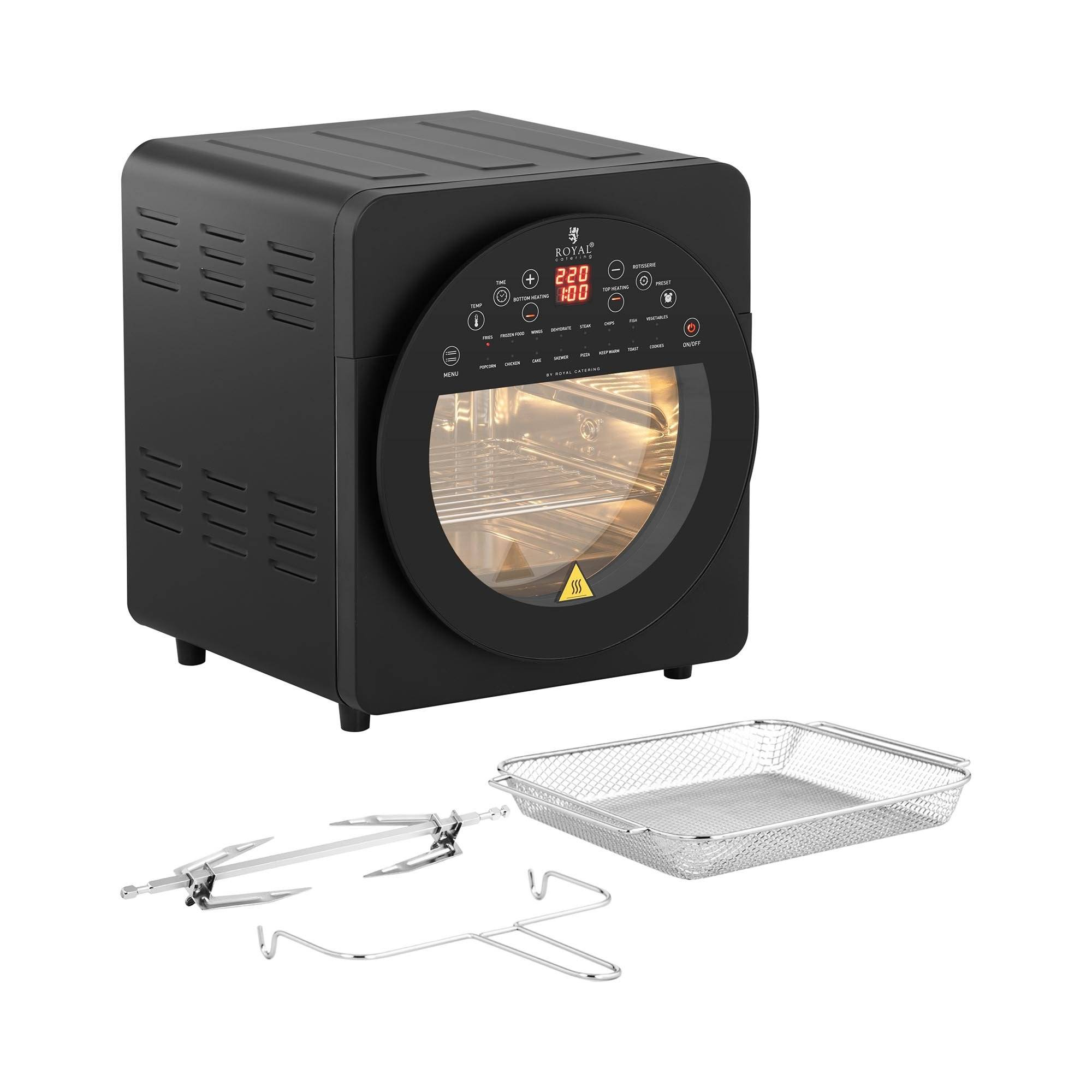 Royal Catering Countertop Convection Oven - 1,700 W - 12 programmes - incl. oven rack, baking sheet, rotisserie and drip tray RCAF-14L