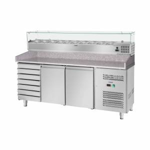 Royal Catering Commercial Cooling Table - Cooling Attachment - 702 L - Granite Counter - 2 Doors