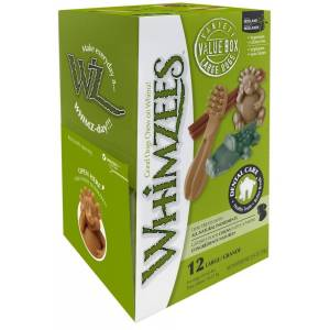 Whimzees Natural Dog Treat Variety Box Large - 12 pack