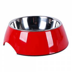 AllPetSolutions 2 x Round Dog / Cat Bowls Size 17.6 x 6cm - Red