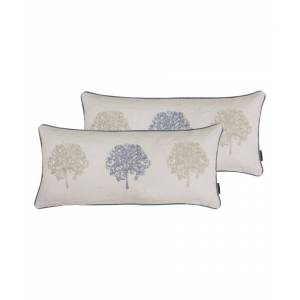 Paoletti Oakdale Cushions (Twin Pack) - Silver Viscose - Size 30cm (w) x 65cm (l)