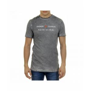 Andrew Charles By Andy Hilfiger Mens T-Shirt Short Sleeves Round Neck Light Grey KARITA - Size L