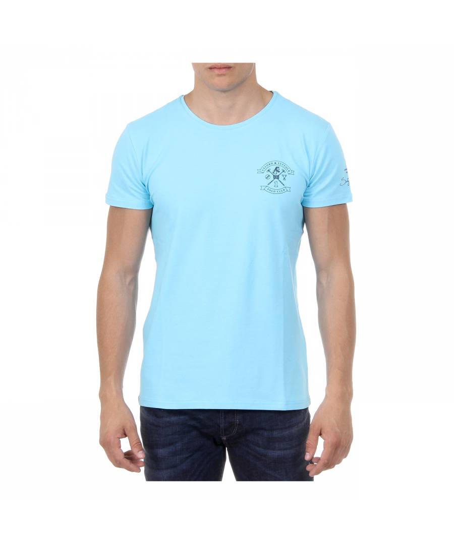 Ufford & Suffolk Polo Club Mens T-Shirt Short Sleeves Round Neck US028 BLUE - Size L