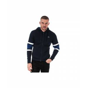 Lacoste Men's Stripped Sleeves Full Zip Sweatshirt in blue navy  - Blue - Size: Small