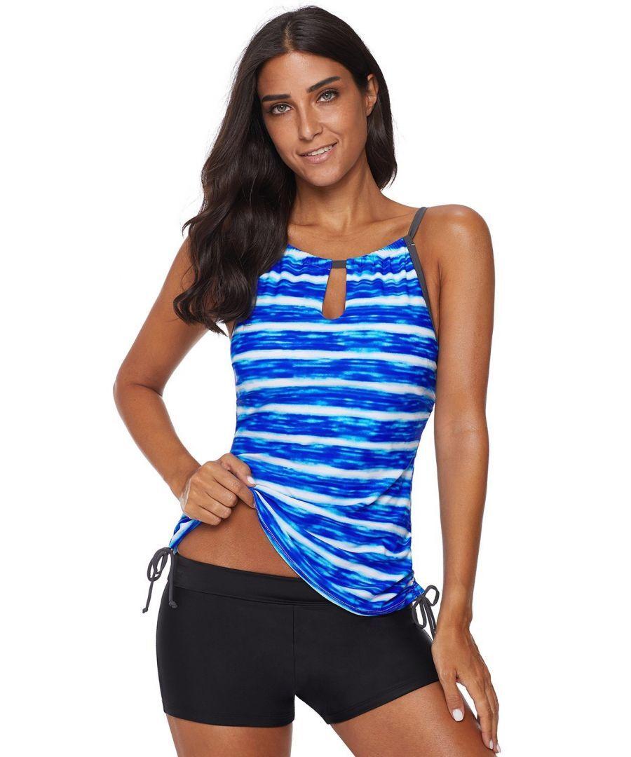 Azura Exchange Womens Blue Print Tankini Swimwear - Size S