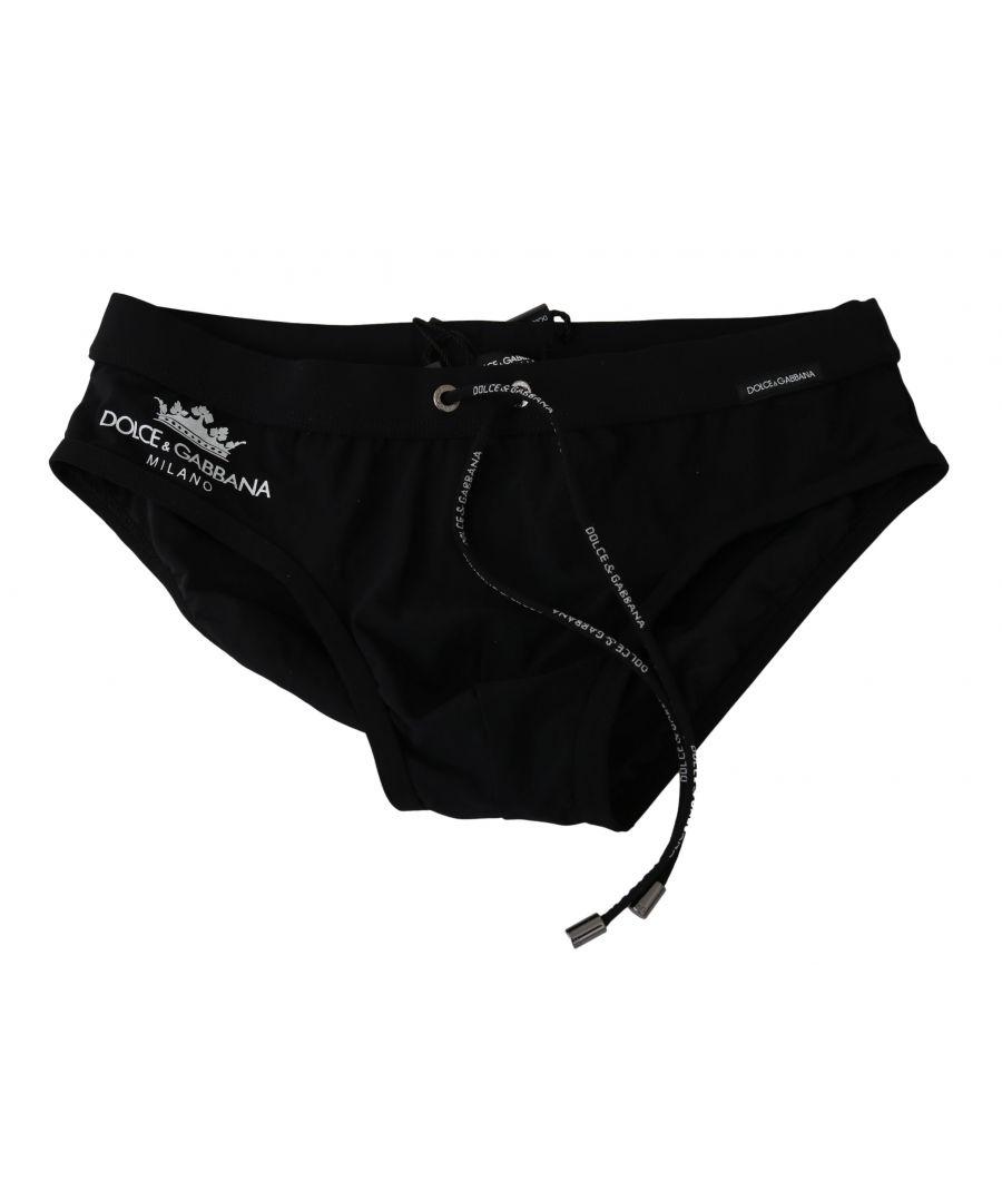 Dolce & Gabbana Mens Black Logo Beachwear Briefs Stretch Nylon Swimwear - Size X-Small