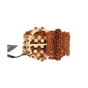 Dolce & Gabbana Womens Brown Raffia Wood Beaded Wide Waist Belt - Multicolour - Size 65cm