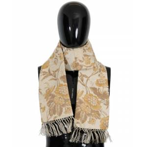 Dolce & Gabbana Mens Beige Gold Jacquard Cotton Scarf - Multicolour - One Size