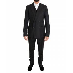 Dolce & Gabbana Brown Wool Double Breasted Slim Fit Suit  - Multicolour - Size: Medium