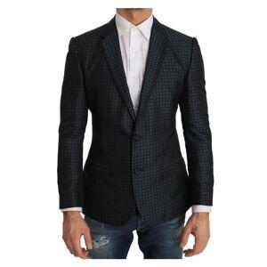 Dolce & Gabbana Blue Pattern Silk Slim Fit Blazer Jacket  - Multicolour - Size: Medium