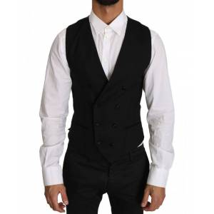 Dolce & Gabbana Gray Wool Double Breasted Waistcoat Vest  - Multicolour - Size: Small