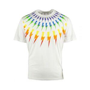 Neil Barrett Multicolour Lightning Bolt White Oversize Tee  - White - Size: Medium