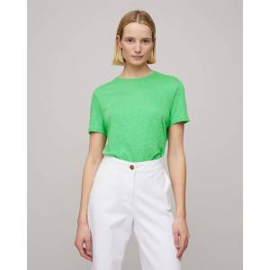 Jigsaw Skye Linen Crew Neck Tee  - Green - Size: Medium