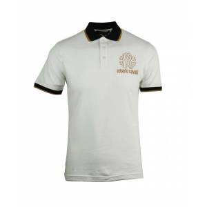 Roberto Cavalli Crest Logo White Polo Shirt  - White - Size: Medium
