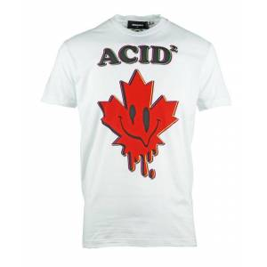 Dsquared2 Cool Fit Acid Maple Leaf White T-Shirt  - White - Size: Medium
