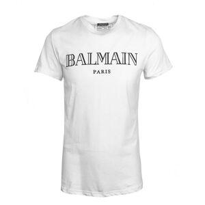 Balmain Logo Print White T-Shirt  - White - Size: Medium