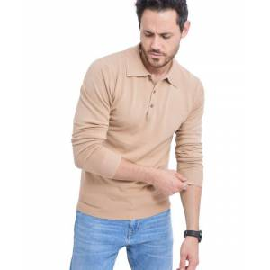 William De Faye Polo Neck Sweater with Buttons in Beige  - Beige - Size: Medium
