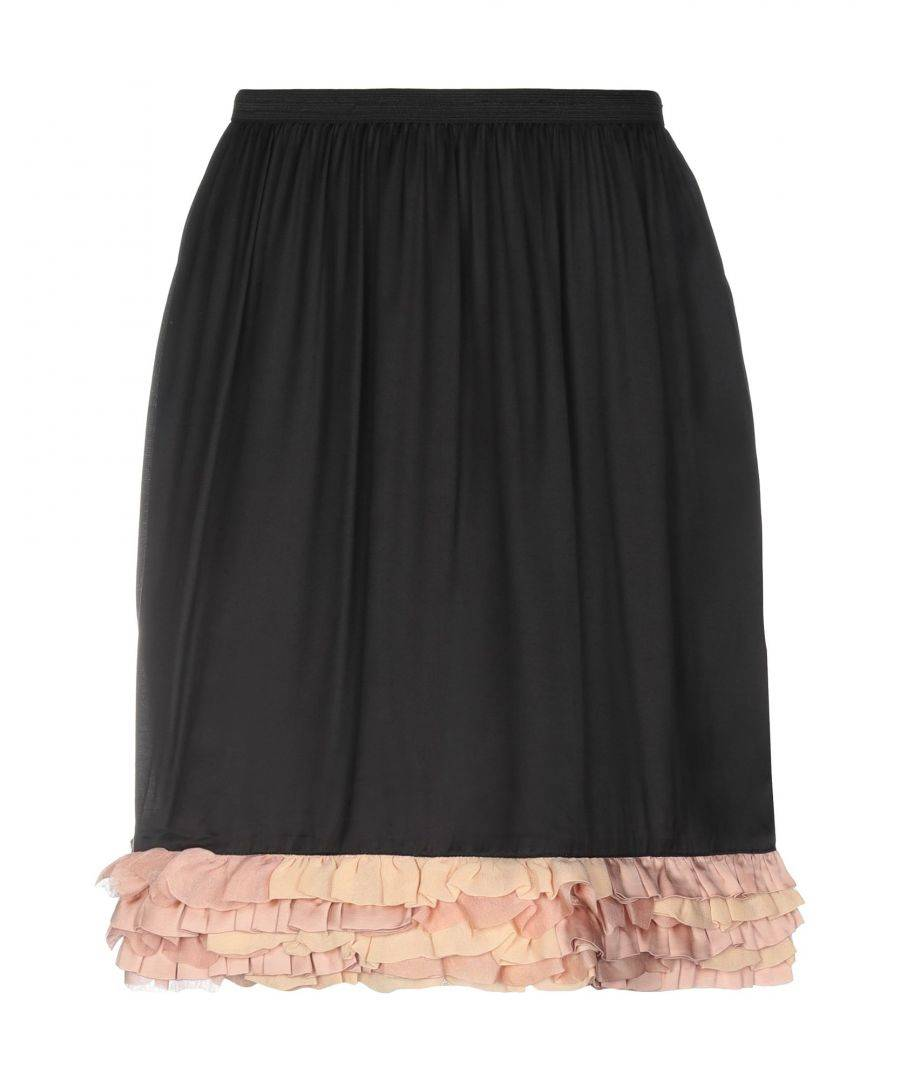 L' Autre Chose Womens Black Satin Pleated Skirt Viscose - Size 8