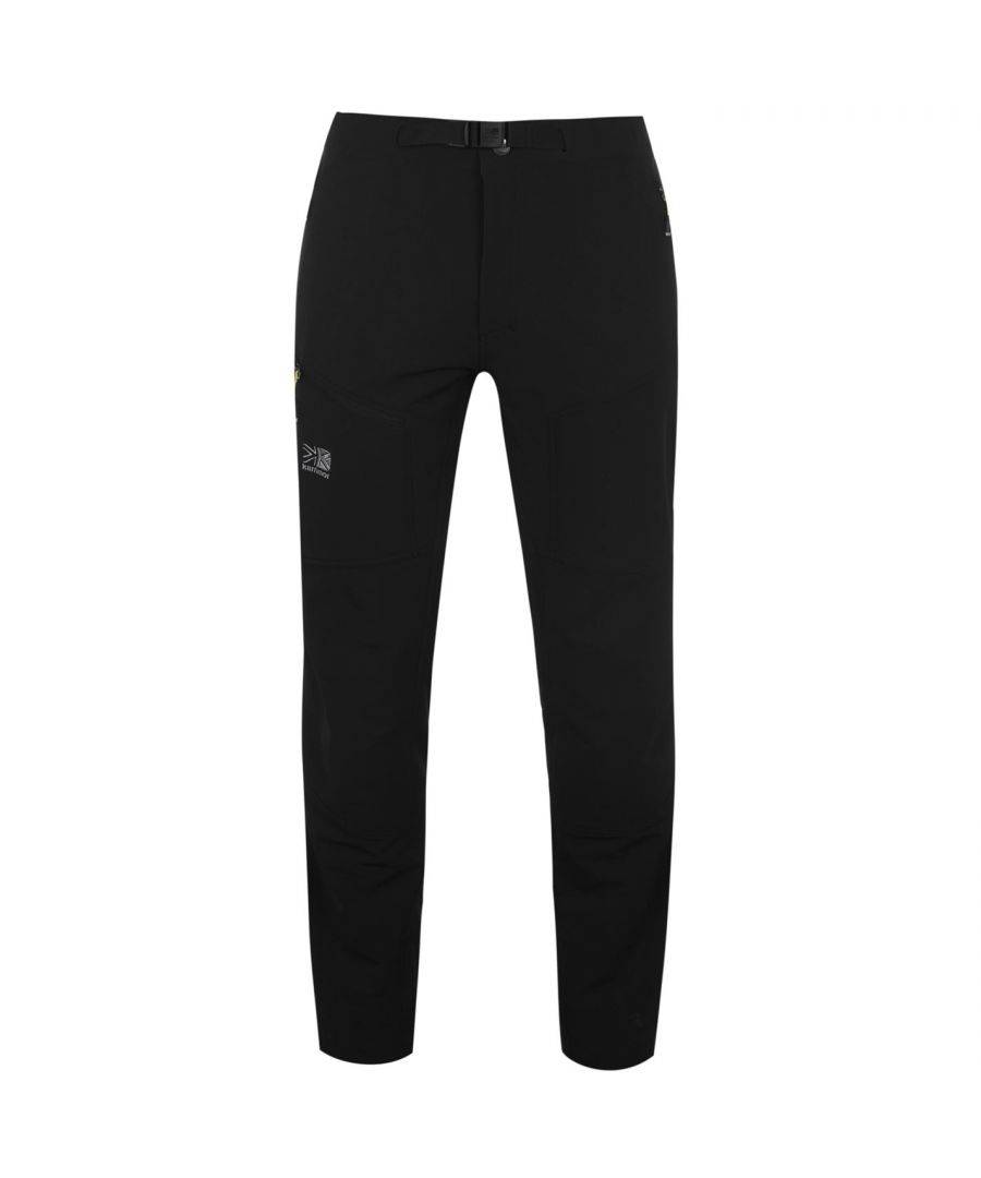 Karrimor Mens Men Apliniste Trousers Lightweight Belted Zip Up Fly 2 Pockets Bottom - Black - Size 2XL