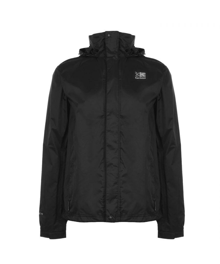 Karrimor Mens Long Sleeve Sierra Rain Jacket Water Wind Proof Hooded Brand New - Black Nylon - Size L