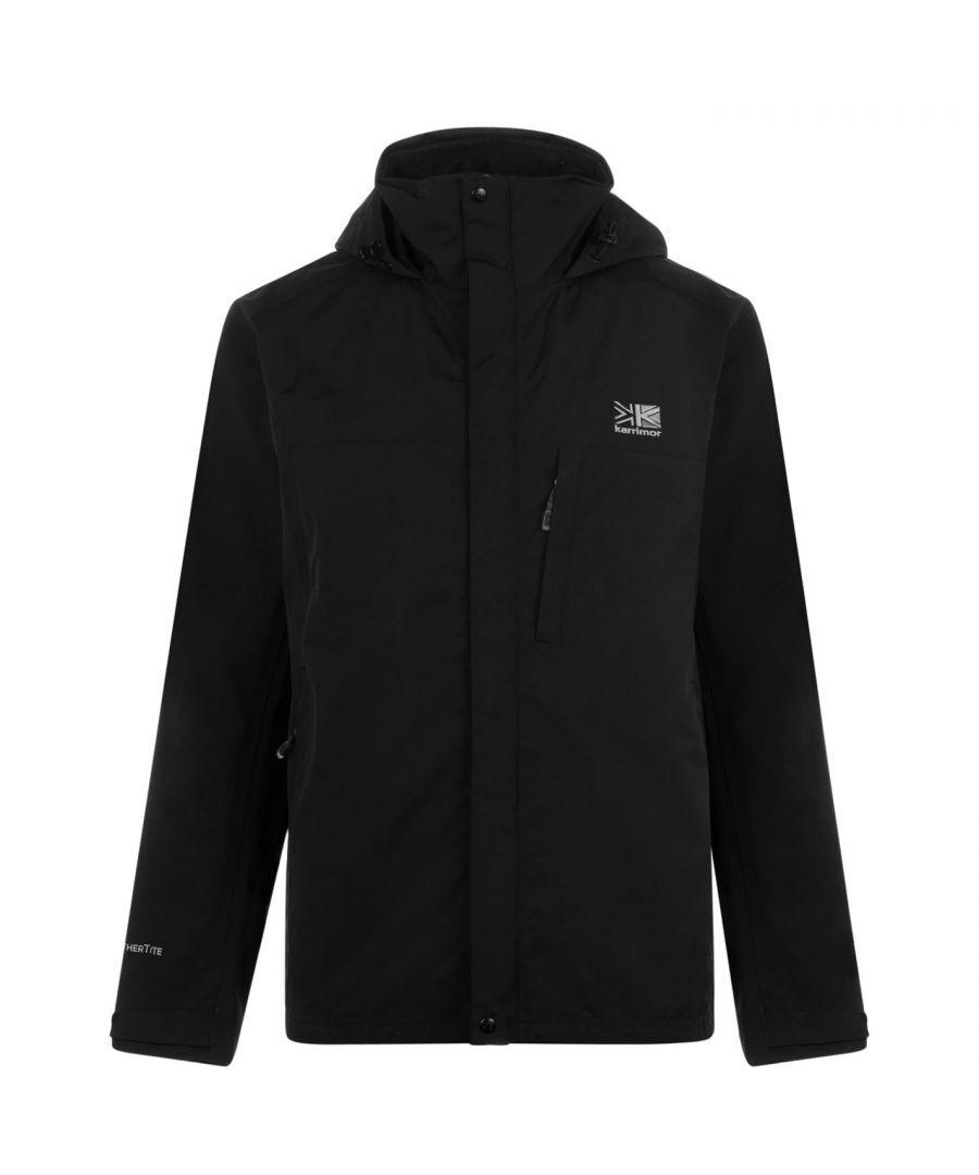 Karrimor Mens Urban Jacket Weathertite Waterproof Foldaway Hood Outdoor - Black Nylon - Size X-Large