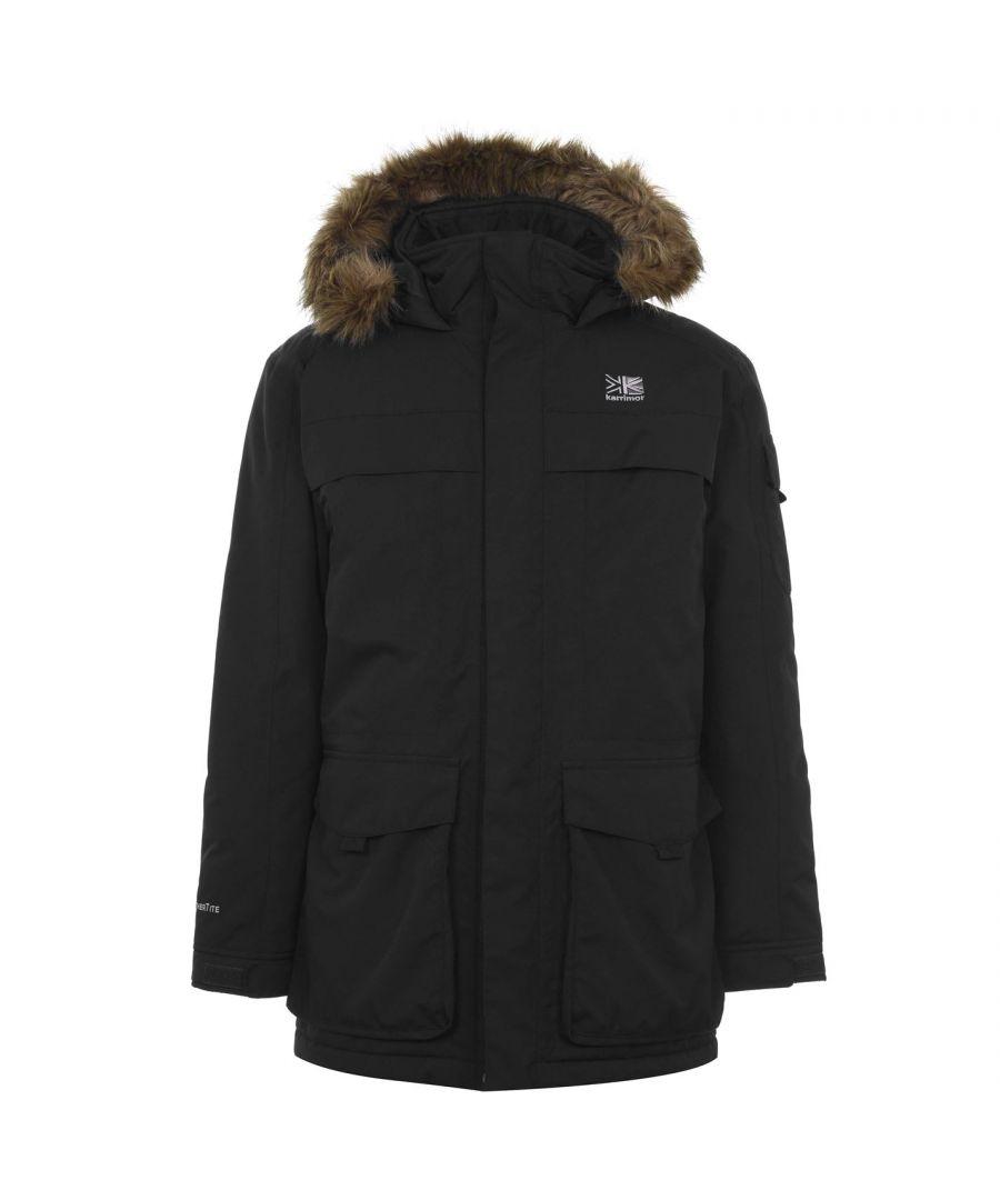 Karrimor Mens Parka Jacket Hood Long Sleeve Pockets Hooded Outerwear Top - Black - Size L
