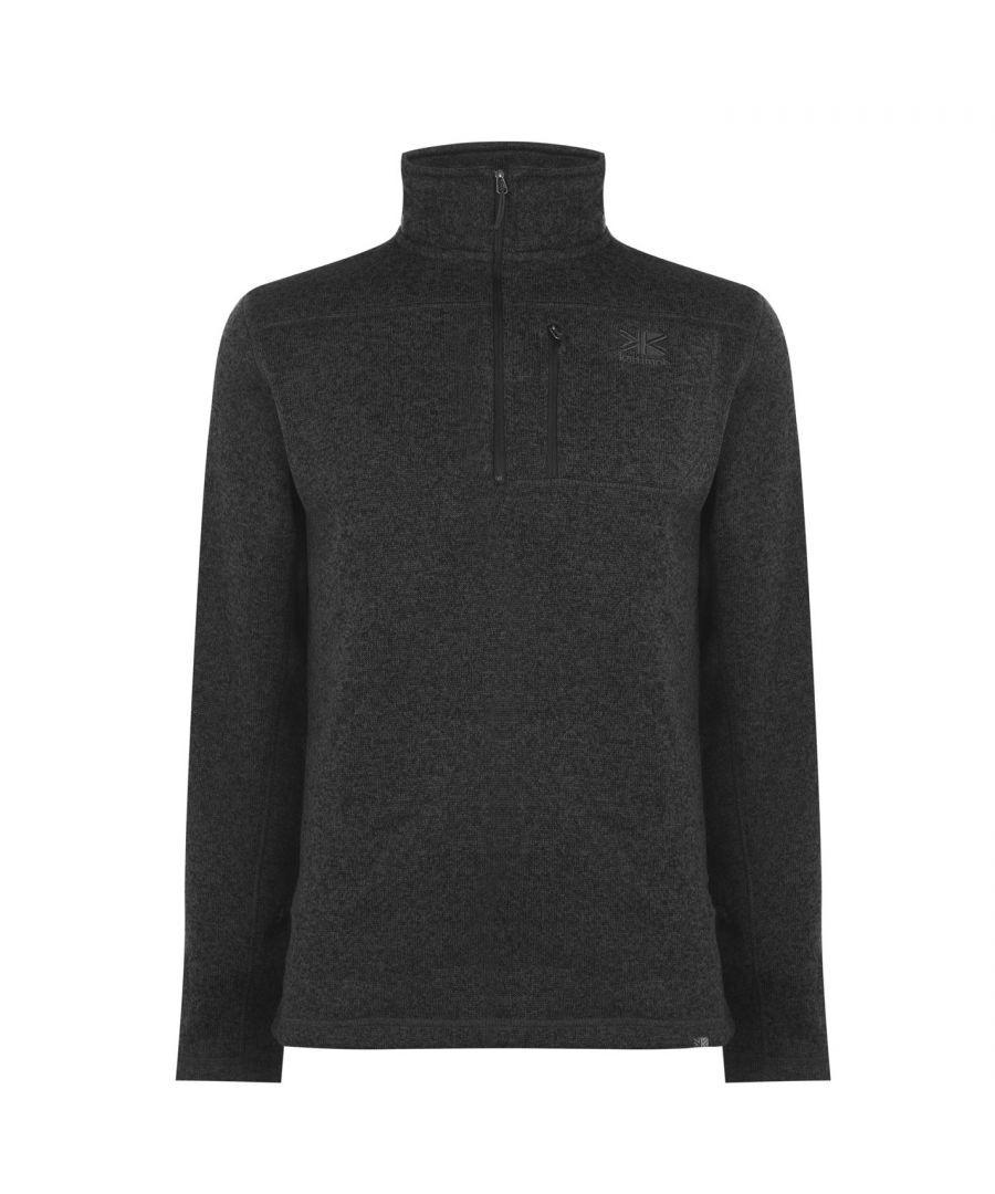 Karrimor Mens Life Fleece Zip Fasten Round Collar Long Sleeve Pullover Warm - Charcoal - Size X-Small