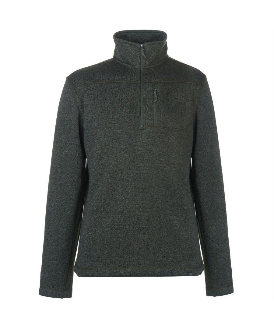 Karrimor Mens Life Fleece 1/4 Zipped Casual Top Sweater Blouse Baselayer - Green - Size X-Large