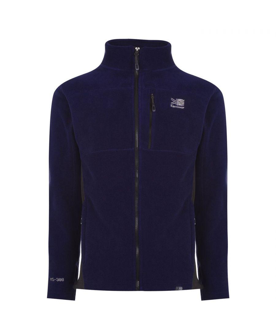 Karrimor Mens Fleece Jacket Zip Through Top Long Sleeve High Collar Pockets - Blue - Size 2XL