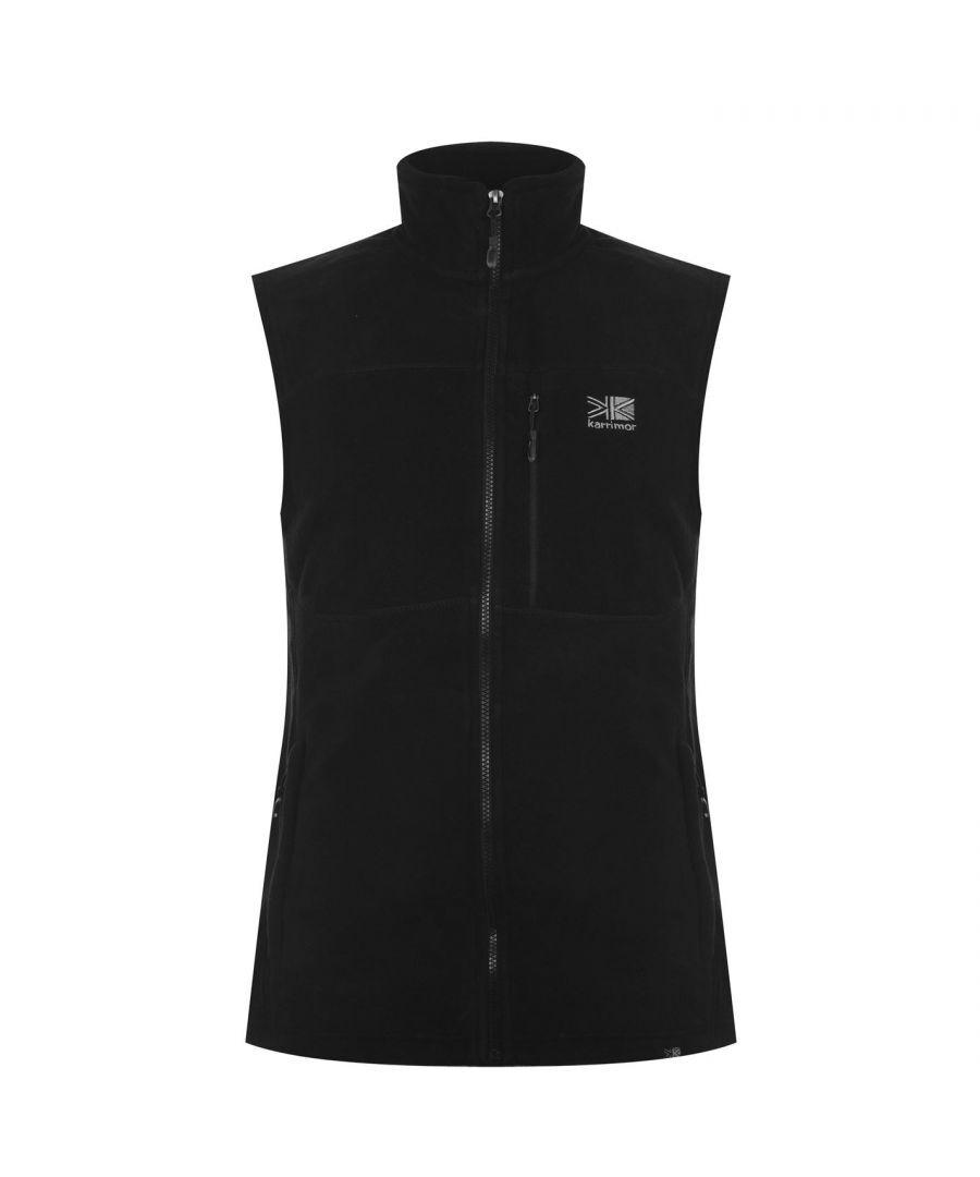 Karrimor Mens Sleeveless Zip Fastening Waist Length Top Jacket Fleece Gilet - Black - Size L