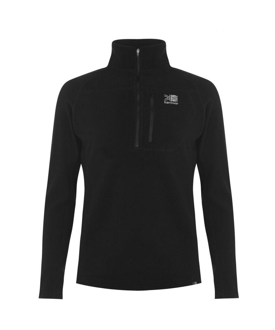 Karrimor Mens Microfleece Pullover Warm Winter Sportswear Activewear Collared - Black - Size X-Small