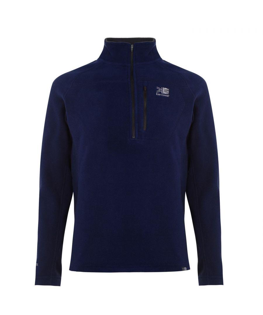 Karrimor Mens Microfleece Pullover Warm Winter Sportswear Activewear Collared - Navy - Size 3XL