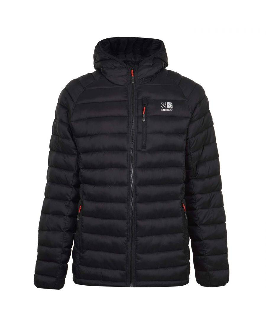 Karrimor Mens Hot Rock Insulated Jacket Outerwear Thermal Hooded Winter Top - Black/Red - Size X-Large